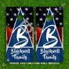 Set of 2 High Quality Laminated Cornhole Boards Wraps 24x48 inch –  Your Family Name #2 & US Flag Background