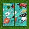 Set of 2 High Quality Laminated Cornhole Boards Wraps 24x48 inch – Comic Cartoon Pattern Graphics BOOM